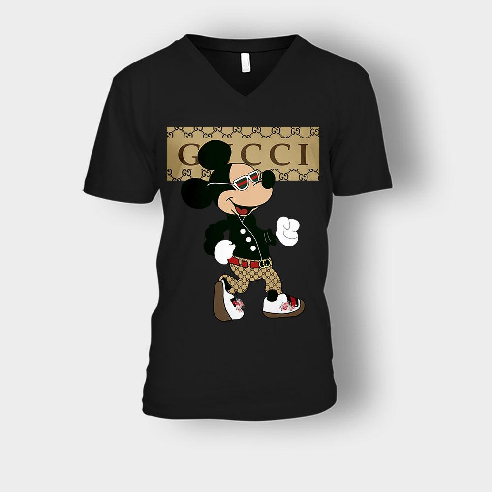 Gucci Mickey Mouse Walking Disney Unisex V,Neck T,Shirt